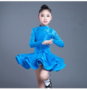 Girls latin dresses for blue red color children kids lace long sleeves exercises competition ballroom chacha rumba dance dresses